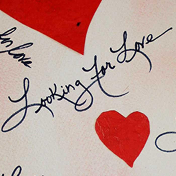 Looking for Love, original matchbook art by Jeffrey Axelrod, closeup