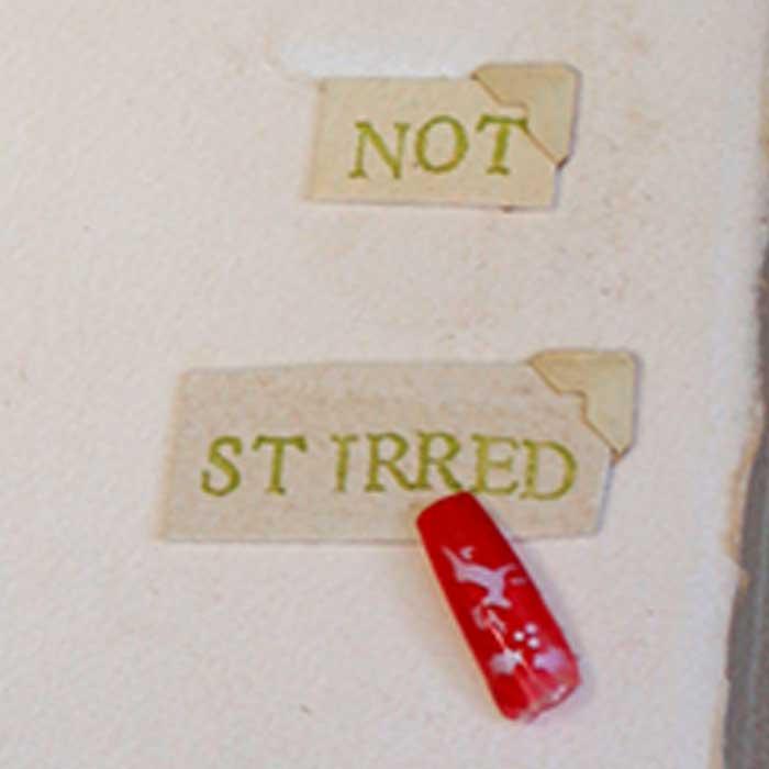 Shaken Not Stirred, original matchbook art by Jeffrey Axelrod, closeup